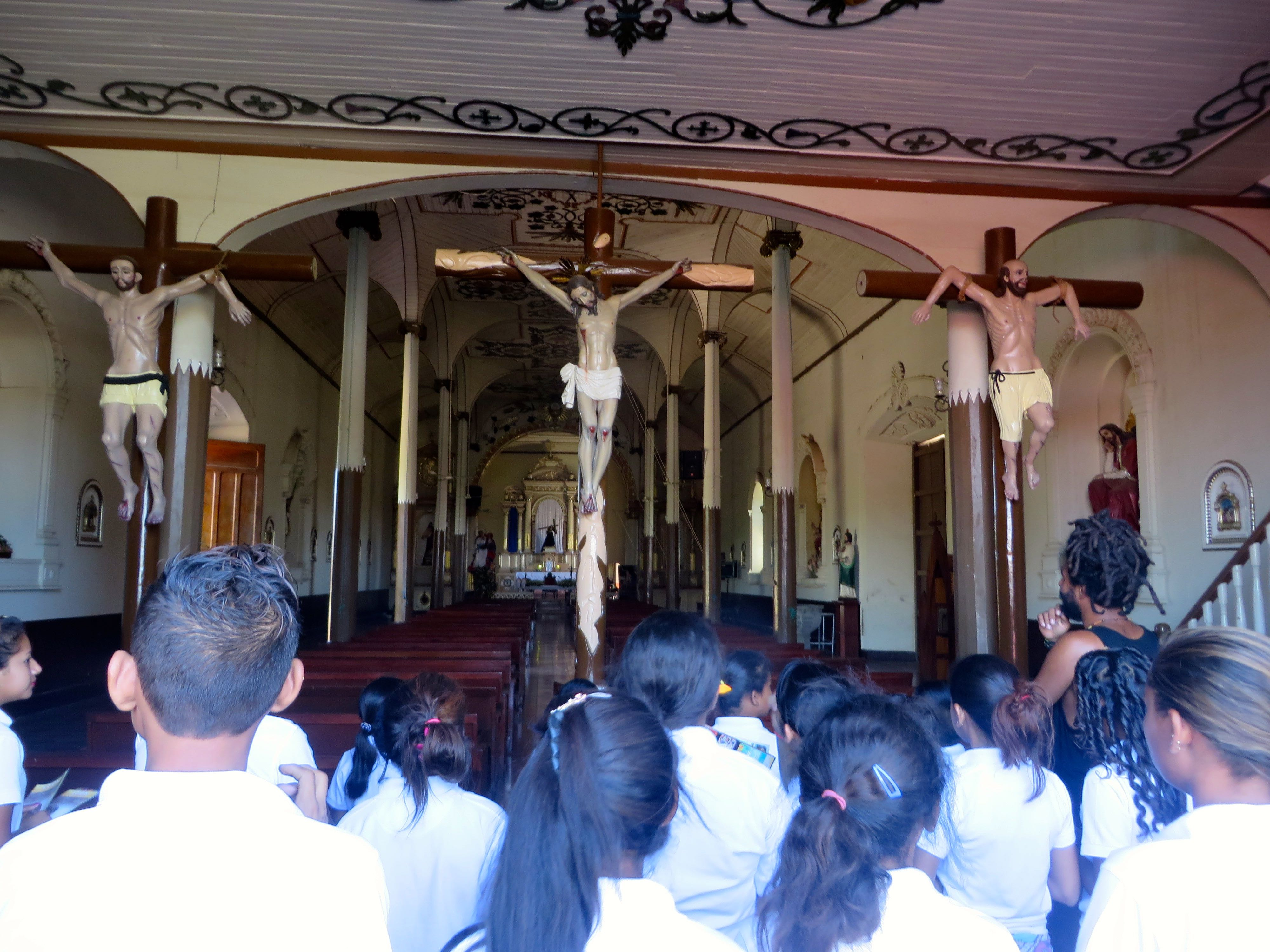 Our students on the tour of El Calvario Church.