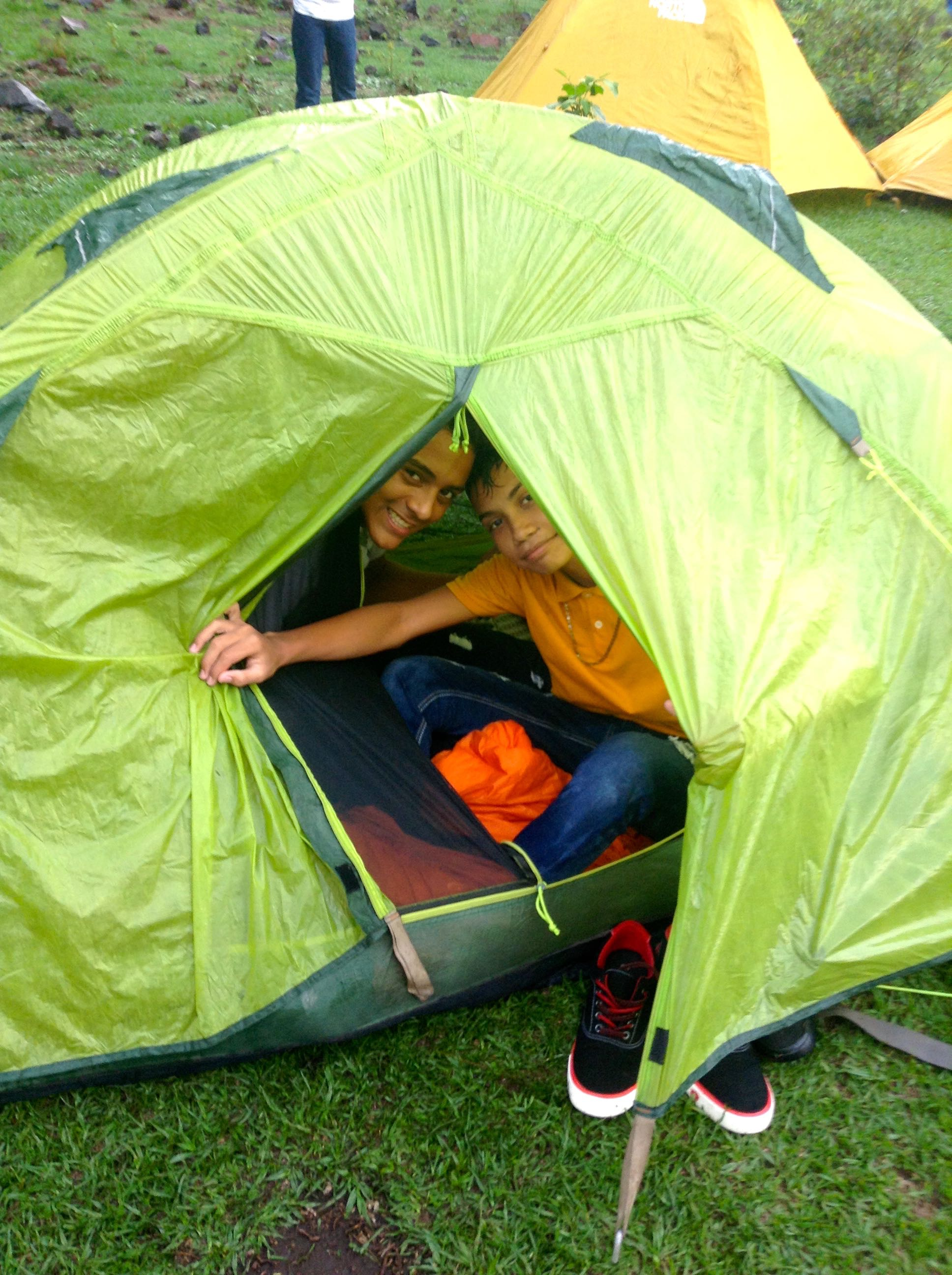 Jose Manuel and Luis loved hanging out in their tent.