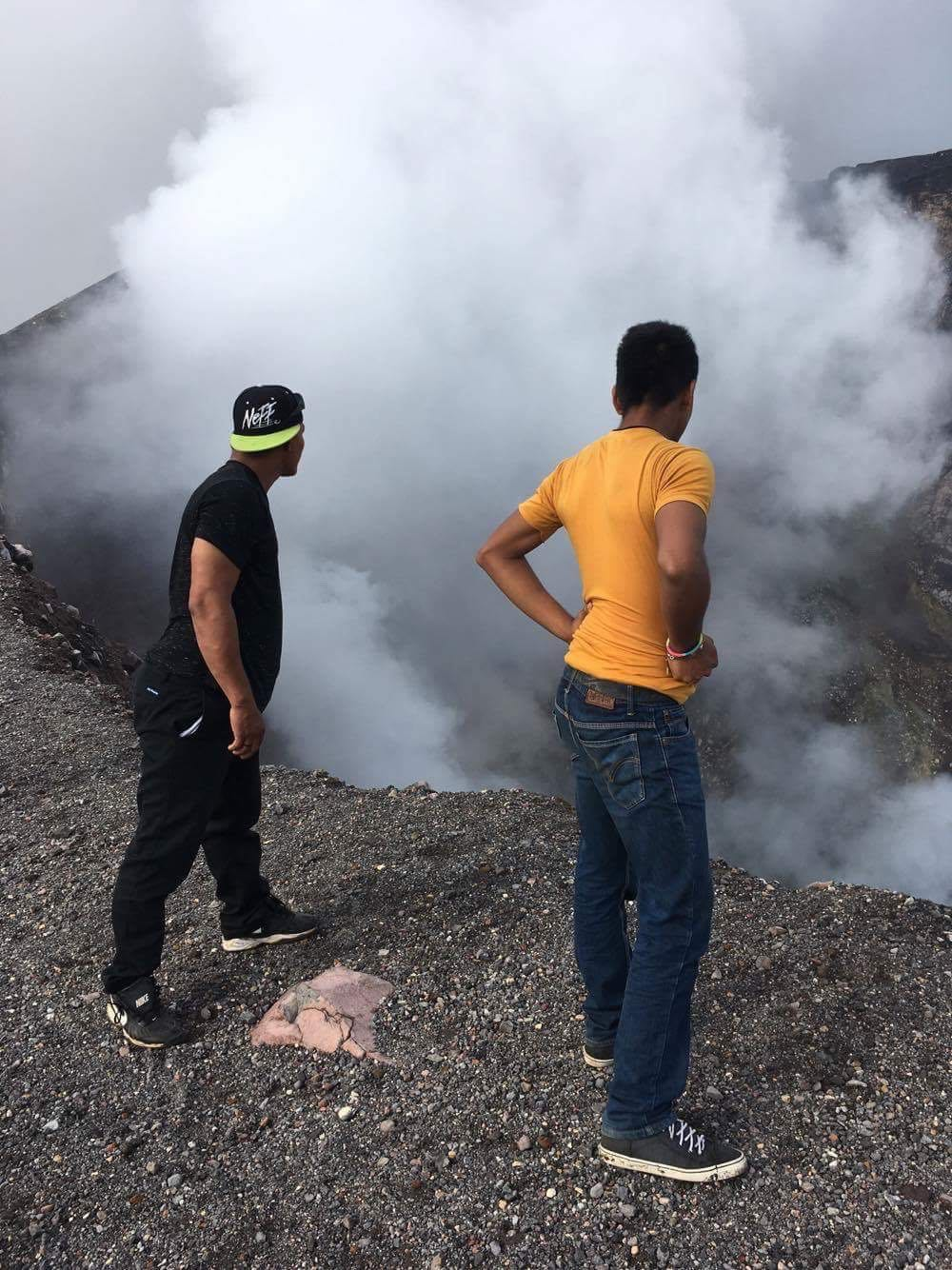 Ervin and Domingo gazing into the crater.
